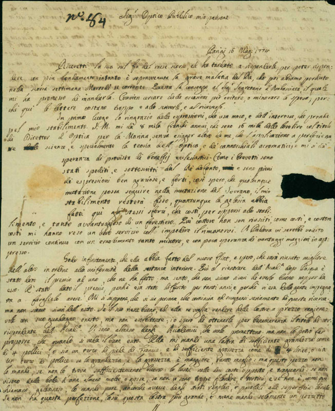 Letter, 1774 May 16 Paris [to] Lorenzo Selva, Venice