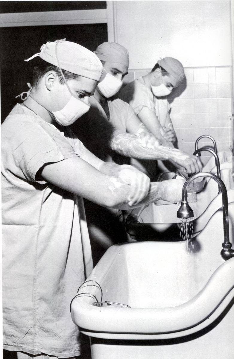 Medical Students Scrub Up, 1966