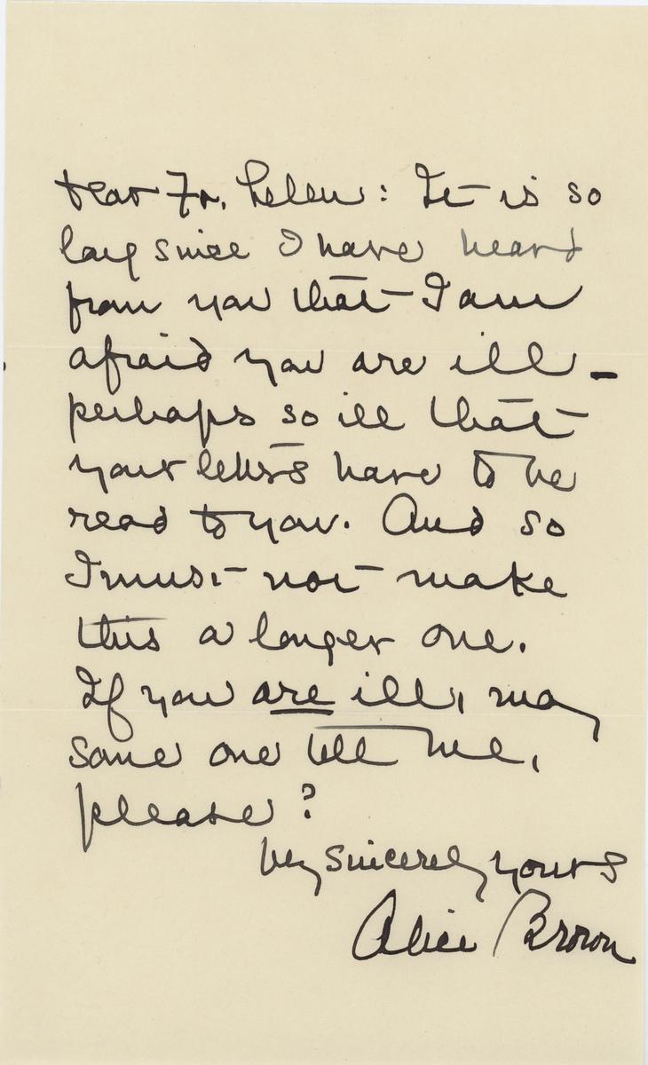 Alice Brown letter to Fr. Lelen Nov. 1932 with envelope