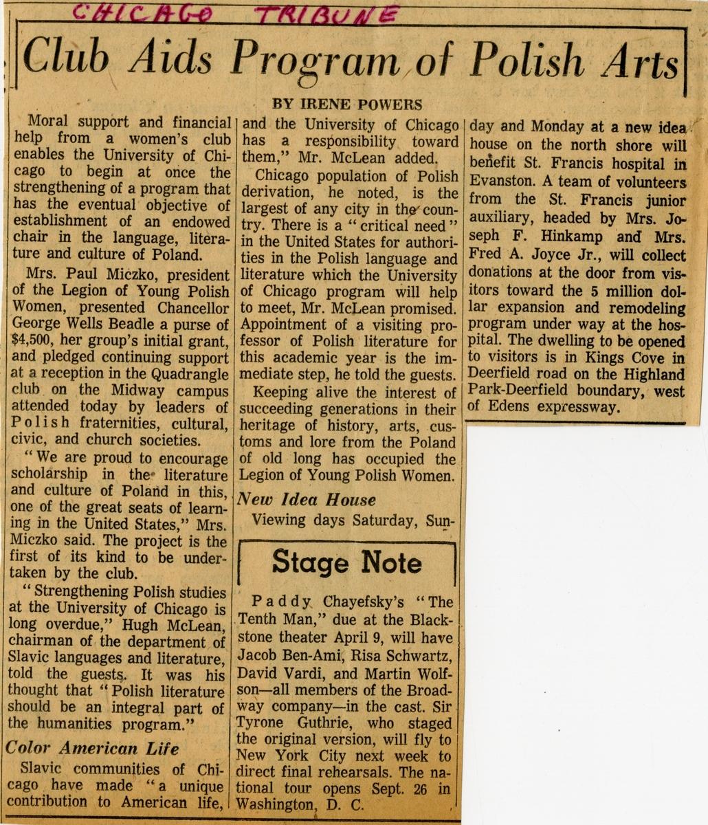 Initial Gift Tribune Article, 1961.jpg