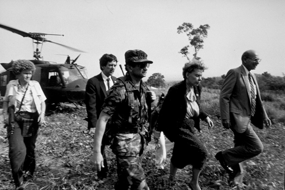 Ambassador Jeane Kirkpatrick visiting San Vicente, El Salvador, c. 1983.