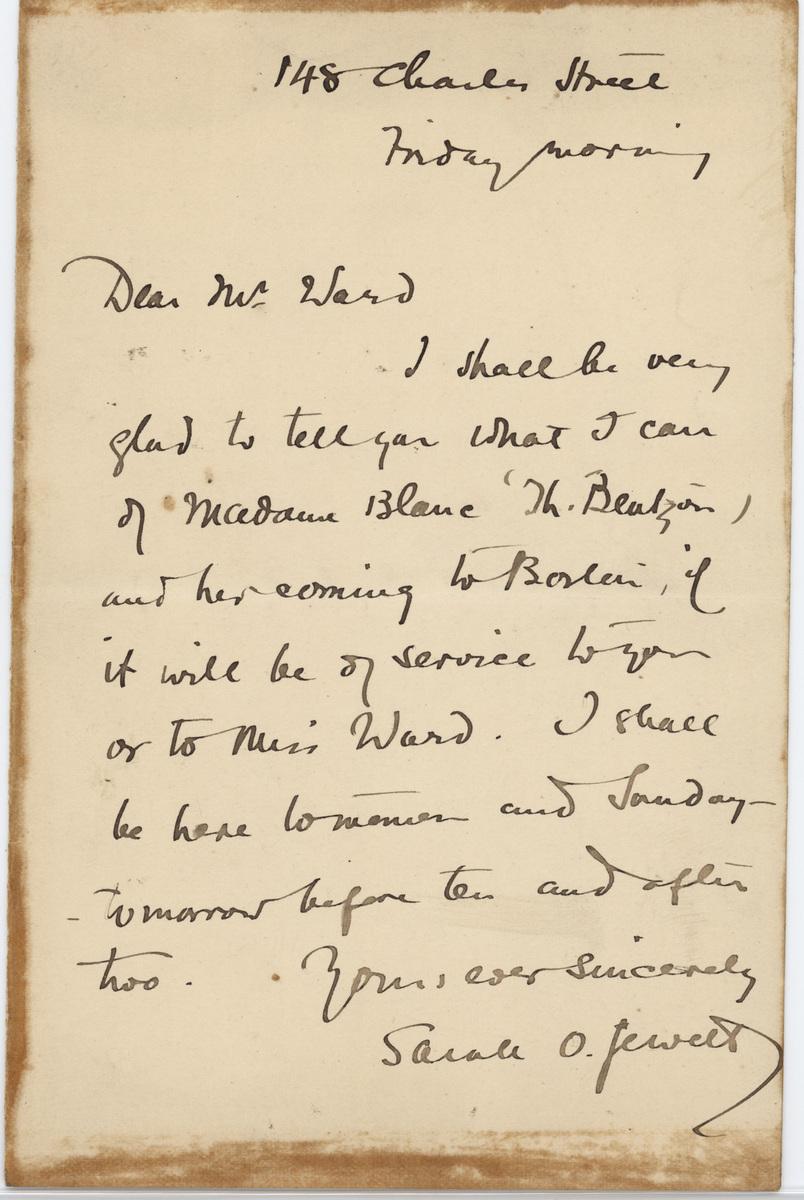 Sarah O. Jewett letter Mr. Ward