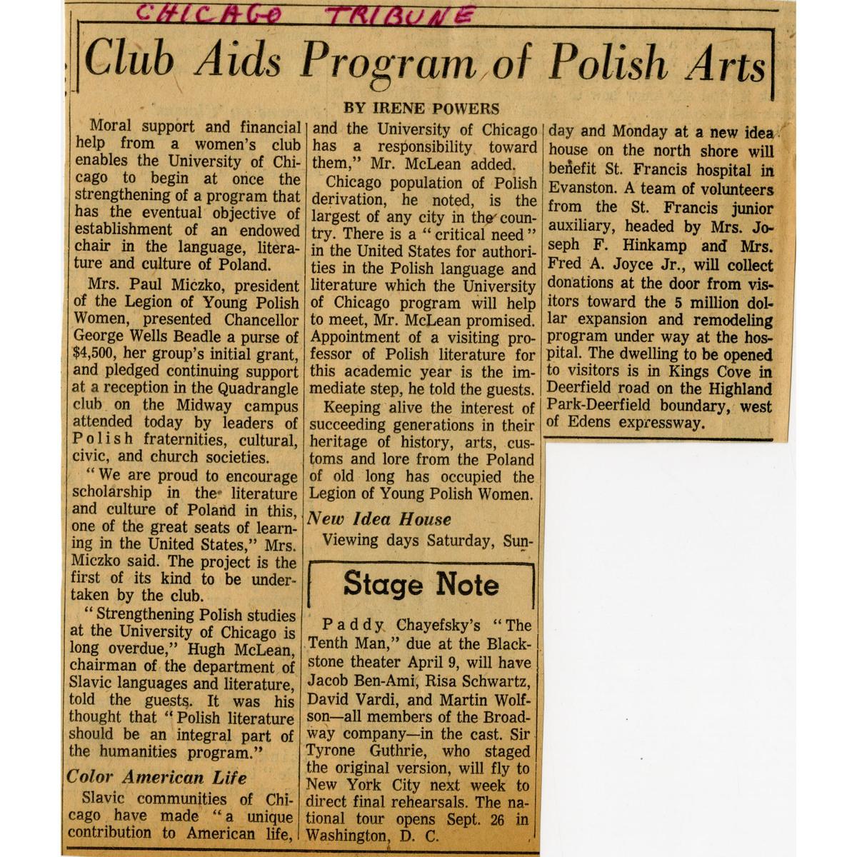 Initial Gift Tribune Article, 1961 squared.jpg