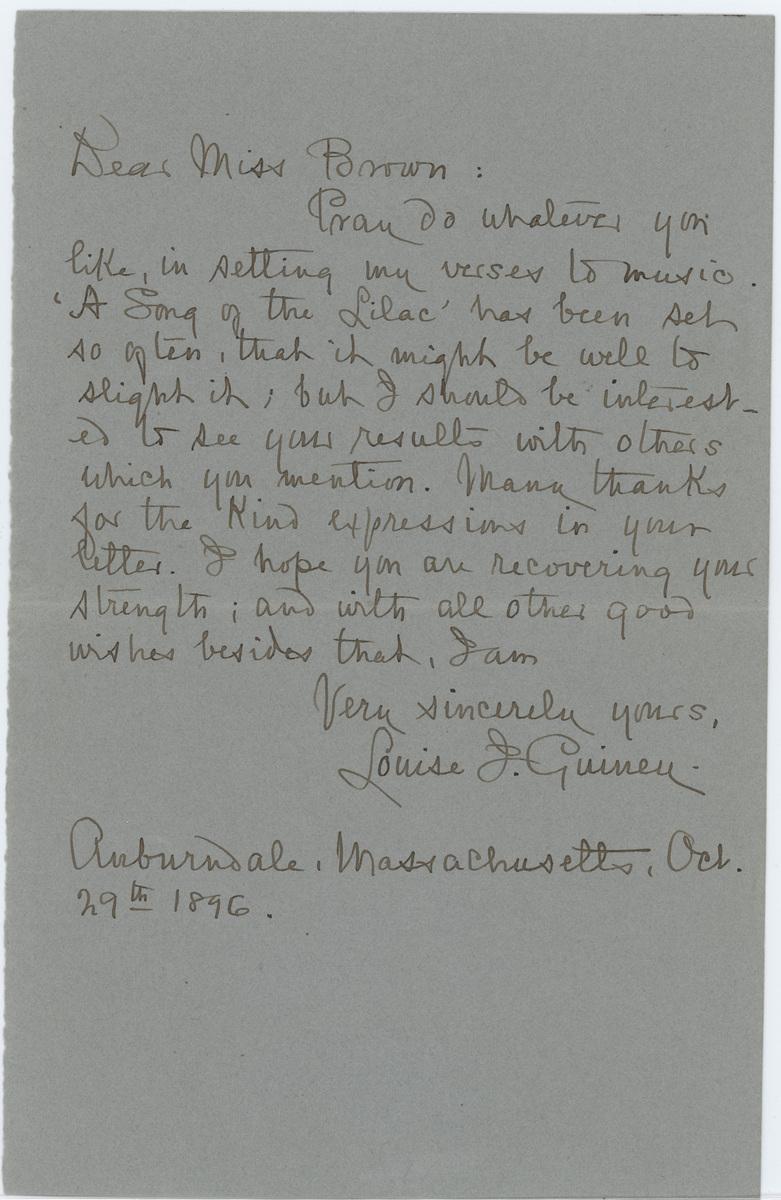 Louise Imogen Guiney letter Dear Miss Brown