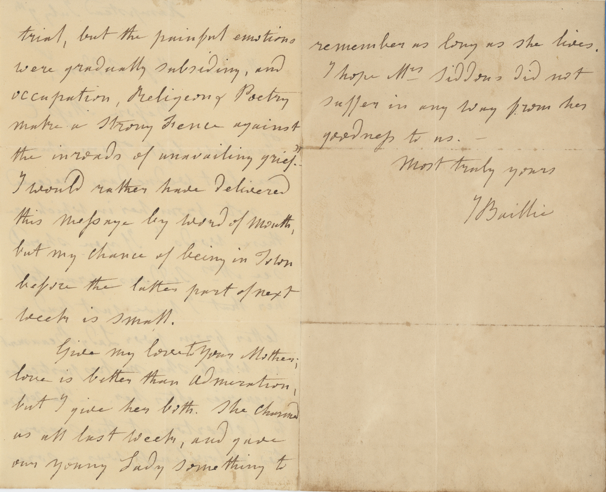 Joanna Baillie letter, page 2-3