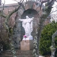 Statue on Lake Shore Campus during Holy Week