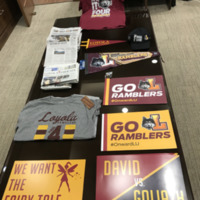 Memorabilia from Loyola's 2018 NCAA Men's Basketball Tournament run