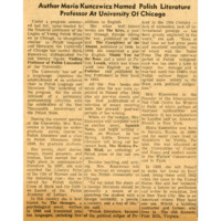 """Author Maria Kuncewicz Named Polish Literature Professor at University of Chicago"""