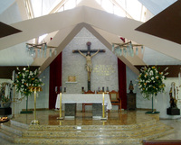 Altar at the Chapel of the Hospital de la Divina Providencia in San Salvador where Archbishop Oscar Romero was murdered while saying mass on 24 March 1980.